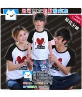 黑色插肩温馨家庭可爱个性T恤
