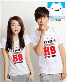 五星英文数字韩版短袖文化衫t恤流行图案潮流休闲个性8班班服